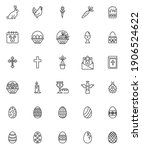 happy easter line icons set.... | Shutterstock .eps vector #1906524622