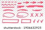 red highlighter set   lines ... | Shutterstock .eps vector #1906632925