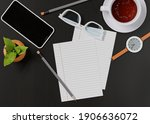office desk with a cup of tea ... | Shutterstock . vector #1906636072