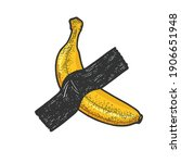 banana taped to wall by... | Shutterstock .eps vector #1906651948