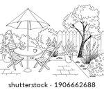 garden graphic backyard table... | Shutterstock .eps vector #1906662688