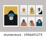 cute vector primates in flat... | Shutterstock .eps vector #1906691275