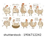 set of cute chickens isolated...   Shutterstock .eps vector #1906712242