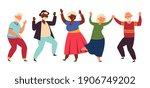 dancing seniors. elderly party  ... | Shutterstock .eps vector #1906749202