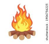 Camping Hot Bonfire Flat Icon