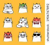 angry cats smiles. cartoon... | Shutterstock .eps vector #1906767892