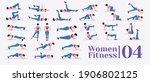 women workout set. women doing... | Shutterstock .eps vector #1906802125