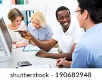 happy business people gathered... | Shutterstock . vector #190682948