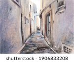 Tunisia. A City Street With Old ...
