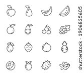 fruits and berries icon set....   Shutterstock .eps vector #1906835605