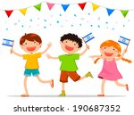 children holding israeli flags... | Shutterstock . vector #190687352