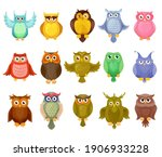 owl birds vector design of cute ... | Shutterstock .eps vector #1906933228