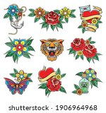 old school badges with tiger...   Shutterstock .eps vector #1906964968
