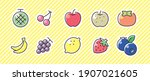 fruit 10 icon set. vector... | Shutterstock .eps vector #1907021605