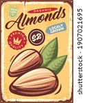 almonds vintage metal sign with ... | Shutterstock .eps vector #1907021695