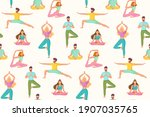 seamless pattern with people in ... | Shutterstock .eps vector #1907035765