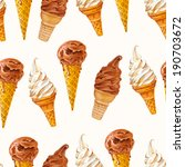 Seamless pattern with ice cream waffle cones. Watercolor illustration on texture paper. Vintage style. Vector.