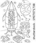 Aliens Coloring Page. Space...