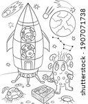 Alien Coloring Book. Space...