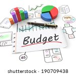 pie chart on a stock chart with ... | Shutterstock . vector #190709438