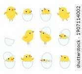 Set Cute Cartoon Funny Yellow...
