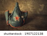 """""""Budenovka"""" hat with a red star, Red Army uniforms"""