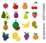 fruit icons set white... | Shutterstock .eps vector #1907124682