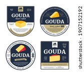 vector gouda cheese labels and...   Shutterstock .eps vector #1907152192