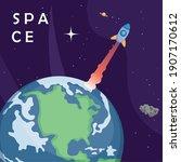 space rocket over earth world...   Shutterstock .eps vector #1907170612