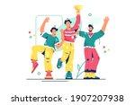 group of happy people vector...   Shutterstock .eps vector #1907207938