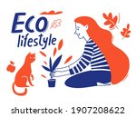 doodle style eco lifestyle... | Shutterstock .eps vector #1907208622