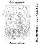 beauty cosmic unicorn head with ...   Shutterstock .eps vector #1907231512