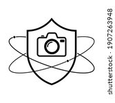 shield with photo camera icon.... | Shutterstock .eps vector #1907263948
