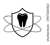 shield with tooth icon. linear... | Shutterstock .eps vector #1907264362