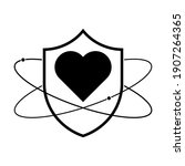 shield with heart icon. linear... | Shutterstock .eps vector #1907264365