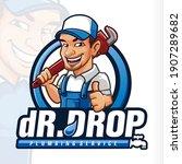 drop plumb plumbing mascot logo | Shutterstock .eps vector #1907289682