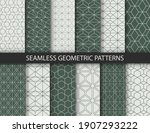 geometric seamless patterns set.... | Shutterstock .eps vector #1907293222