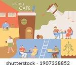 coffee shop poster. interior of ... | Shutterstock .eps vector #1907338852
