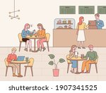 cafe interior interior and... | Shutterstock .eps vector #1907341525