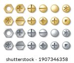 bolt and screw. realistic... | Shutterstock .eps vector #1907346358