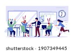 office deadline. panicked and... | Shutterstock .eps vector #1907349445