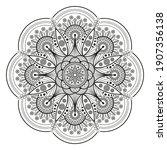 black flower mandala on white... | Shutterstock .eps vector #1907356138