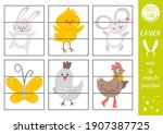 vector easter mix and match... | Shutterstock .eps vector #1907387725