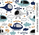seamless pattern with funny... | Shutterstock .eps vector #1907388145