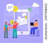 mobile messenger app  send or...   Shutterstock .eps vector #1907408422