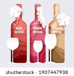 wine bottle and glass set ... | Shutterstock .eps vector #1907447938