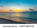 Tropical Orange Sunset With...