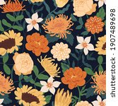 seamless floral pattern with...   Shutterstock .eps vector #1907489698