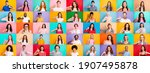Small photo of Multiple collage of positive modern multiethnic person different age raising thumb fingers express approve isolated colorful background