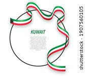 waving ribbon flag of kuwait on ... | Shutterstock .eps vector #1907560105